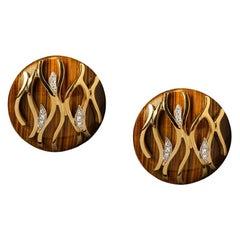 Veschetti 18 Karat Yellow Gold, Tiger Eye, Diamond Earrings