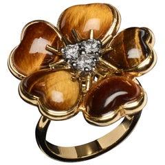 Veschetti 18 Karat Yellow Gold Tiger Eye Diamond Ring