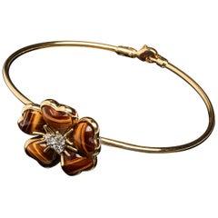 Veschetti 18 Karat Yellow Gold Tiger's Eye Diamond Bracelet