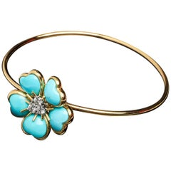 Veschetti 18 Karat Yellow Gold Turquoise Diamond Bracelet