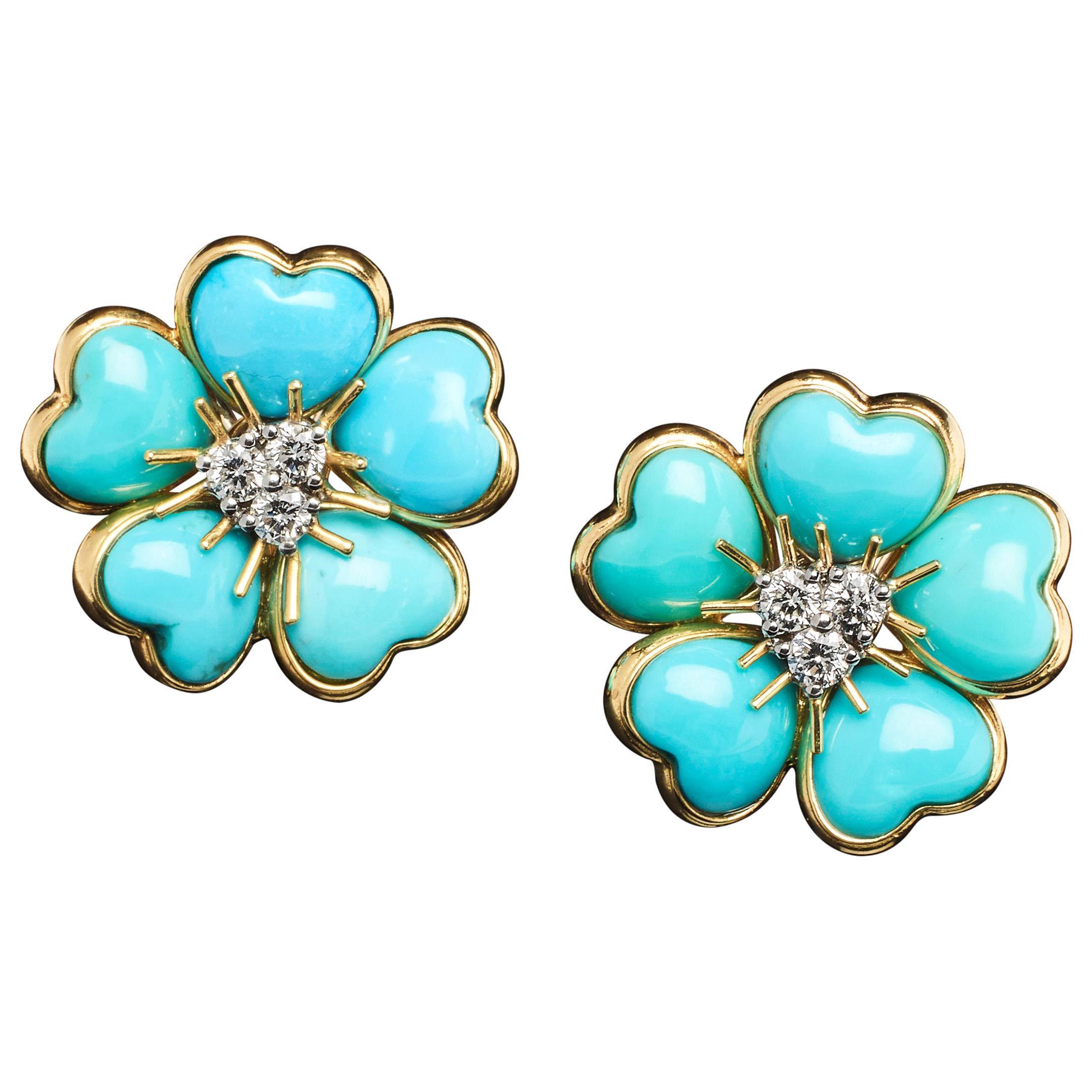 Veschetti 18 Karat Yellow Gold Turquoise Diamond Earrings