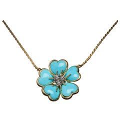 Veschetti 18 Karat Yellow Gold Turquoise Diamond Necklace