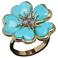 Veschetti 18 Karat Yellow Gold Turquoise Diamond Ring