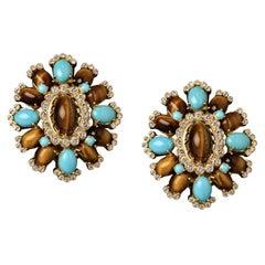 Veschetti 18 Karat Yellow Gold, Turquoise, Tiger Eye, Diamond Earrings