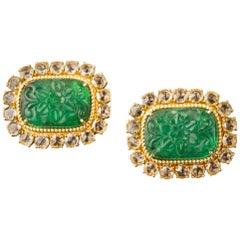 Veschetti 18 Karat Yellow Gold, Zambian Emerald, Diamond Earrings