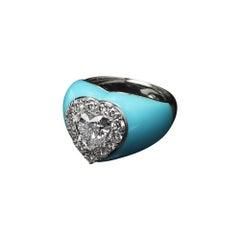 Veschetti 18 Kt White Gold, Enamel, Heart-Shaped Diamond Ring