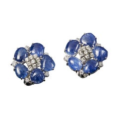 Veschetti 18 Kt White Gold, Sapphires, Diamond Earrings