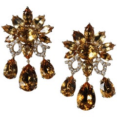 Veschetti 18 Kt Yellow Gold, 85,14 Carat Citrine Quartz, Diamond Dangle Earrings