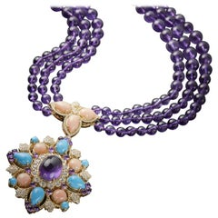 Veschetti 18 Karat Yellow Gold, Amethyst, Turquoise, Coral, Diamond Necklace