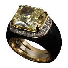 18 Karat Yellow Gold, Black Enamel and Fancy Yellow Diamond Ring