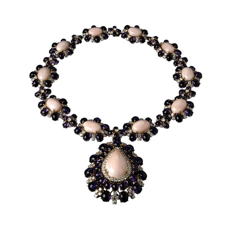 Veschetti 18 kt Yellow Gold, Coral, Amethyst, Diamond Pendant Necklace