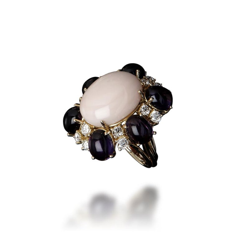 Veschetti 18 kt Yellow Gold, Coral, Amethysts, Diamond Cocktail Ring In New Condition For Sale In Brescia, IT