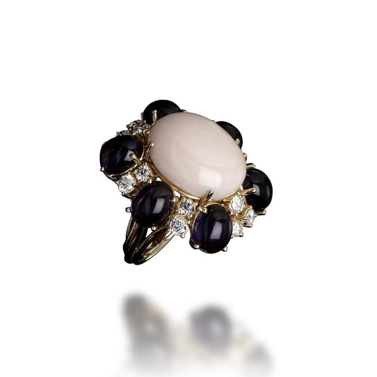 Women's Veschetti 18 kt Yellow Gold, Coral, Amethysts, Diamond Cocktail Ring For Sale