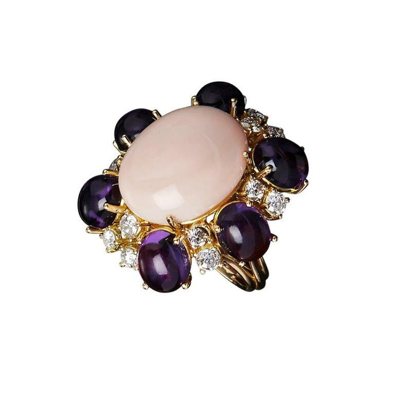 Veschetti 18 kt Yellow Gold, Coral, Amethysts, Diamond Cocktail Ring For Sale