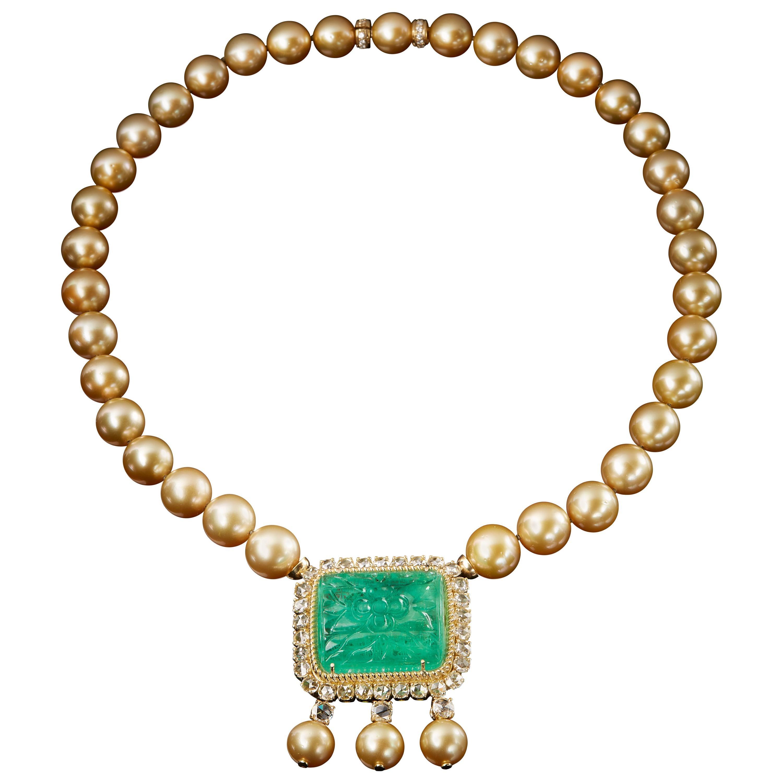 Veschetti 18 Karat Yellow Gold, Gold Pearl, Emerald, Diamond Necklace