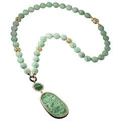 Veschetti 18 Karat Yellow Gold, Jade, Onyx, Diamond Necklace