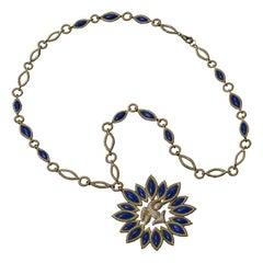 Veschetti 18 Kt Yellow Gold, Lapis Lazuli, Diamond Necklace