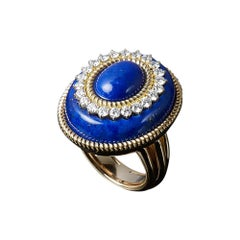 Veschetti 18 Kt Yellow Gold, Lapis Lazuli, Diamond Ring