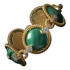 Veschetti 18 Kt Yellow Gold, Malachite, Diamond Bracelet