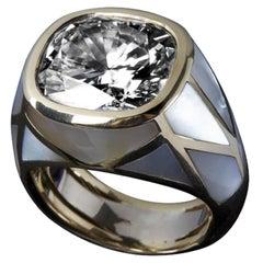 18 Karat Yellow Gold, Mother of Pearl Inlays Diamond Ring