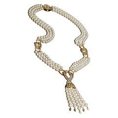 Veschetti 18 Kt Yellow Gold, Natural Oriental Pearl, Diamonds Necklace