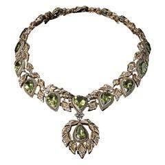Veschetti 18 Kt Yellow Gold, Peridot, Diamonds Necklace
