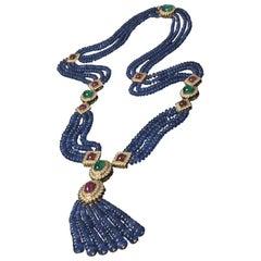 Veschetti 18 Karat Yellow Gold, Sapphire, Emerald, Ruby, Diamond Necklace