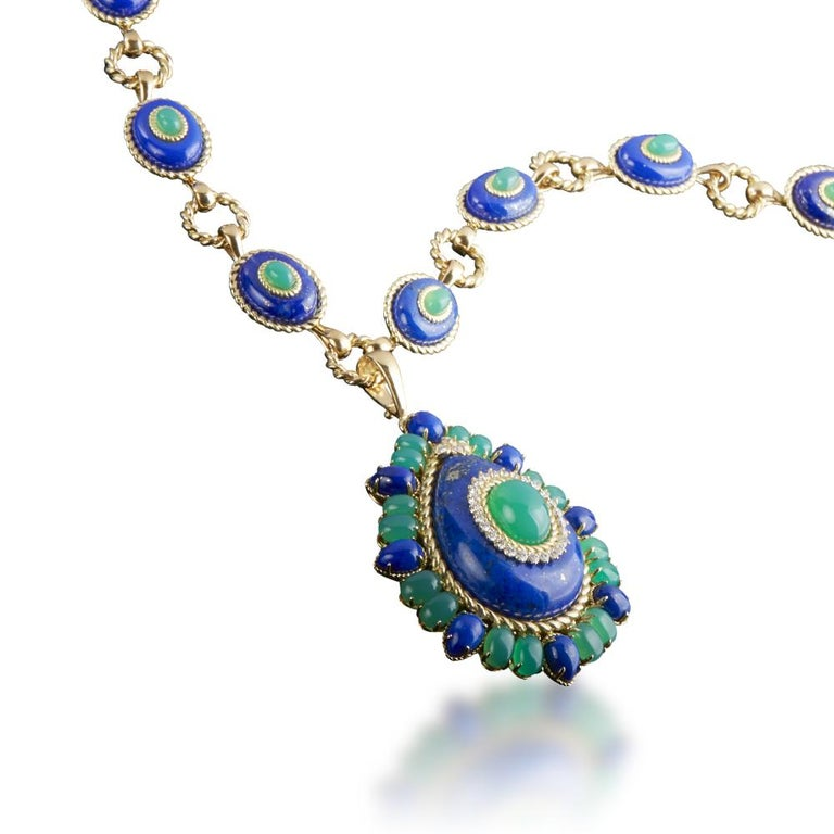 Contemporary Lapis Lazuli, Green Agate and Diamond Pendant Necklace For Sale