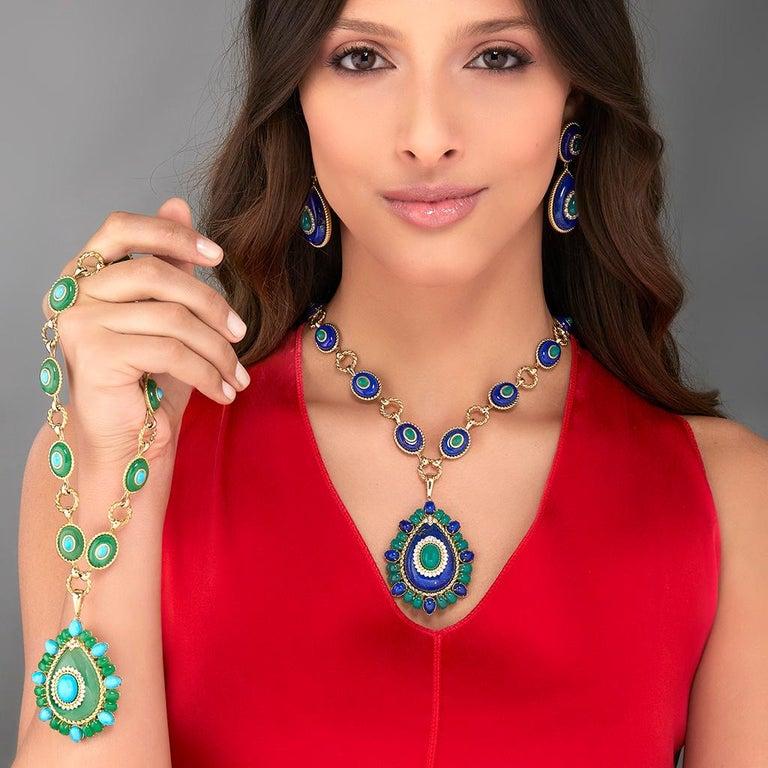 Cabochon Lapis Lazuli, Green Agate and Diamond Pendant Necklace For Sale