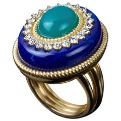 Veschetti Lapis Lazuli Green Agate Diamond Ring