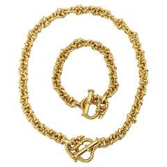 Vesco Italy Yellow Gold Rope Chain Necklace Bracelet Set