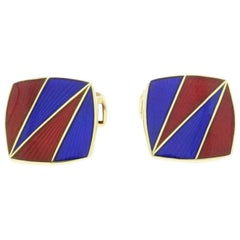 Vesey Blue and Red Yellow Gold Cufflinks