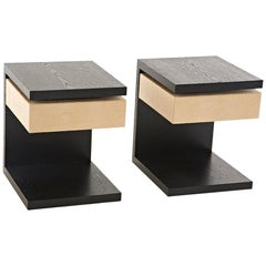 Vesey Side Table C-Shape, Wood One Leather Drawer
