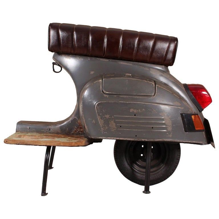 Set of Vespa Barstool, Contemporary Rustic Painted Metal Stool with Leather Seat For Sale