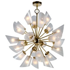 Vesta 24 Chandelier in Polished Brass with Hand Blown Translucent Glass Shades