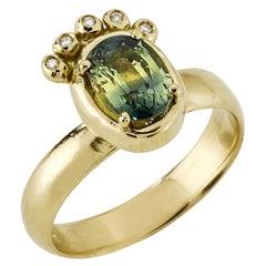 Vesta Ring with Australian Parti Sapphire and Diamond, 18 Karat Yellow Gold