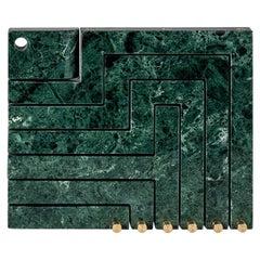 Vestalia Green Marble Verde Imperiale and Brass Details Candleholder
