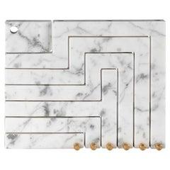 Vestalia White Bianco Carrara Marble and Brass Details Candleholder