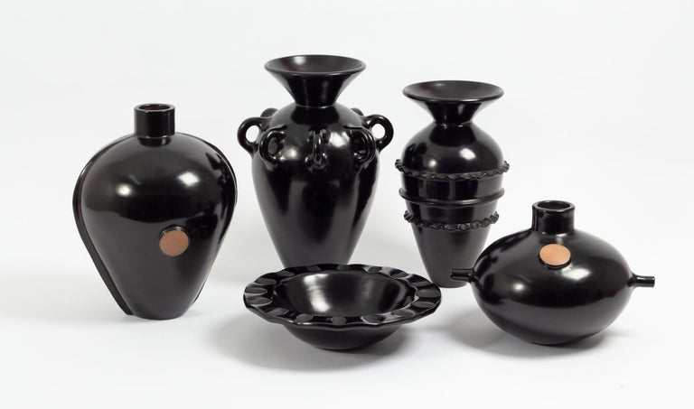 Blackened Vestige 06 Contemporary Peruvian Ceramic Vessel in Smoked Terracota Finish For Sale