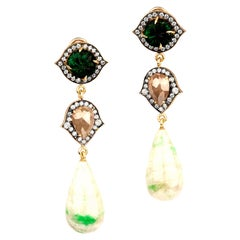 Vesuvianite Drop Earrings with Rough Cut Diamonds and Carved Emeralds