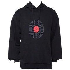 Vetements Black Knit Target Print Distressed Oversized Hoodie XS