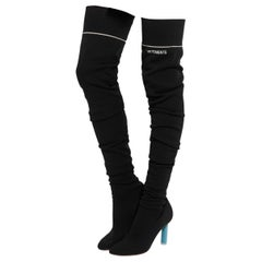 Vetements Black Sock jersey over-the-knee boots - Size 39