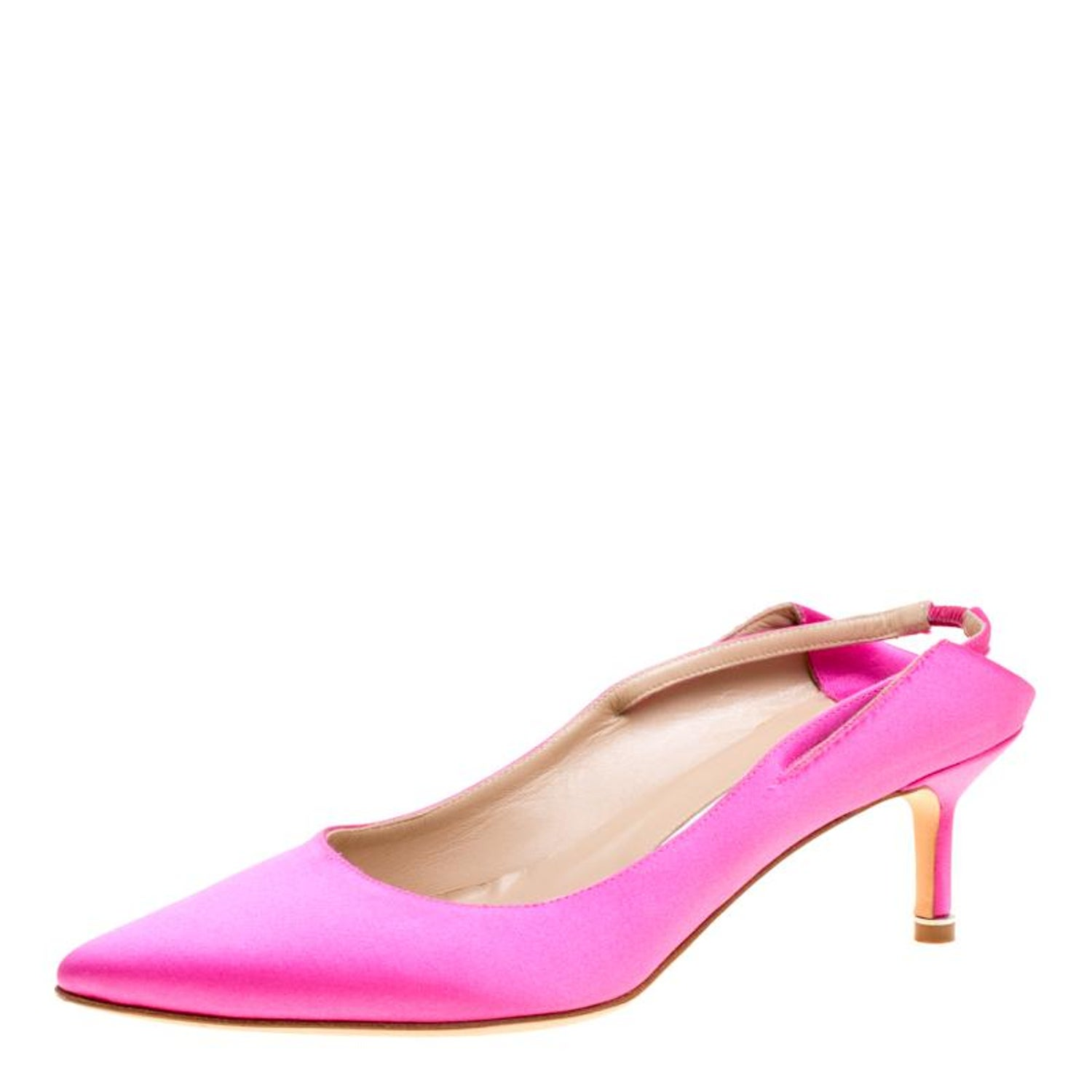 afad6e6ec8f25 Vetements + Manolo Blahnik Pink Satin Pointed Toe Slingback Sandals Size 39  For Sale at 1stdibs