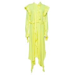 Vetements Neon Yellow Jersey Frayed Ruffled Dress M