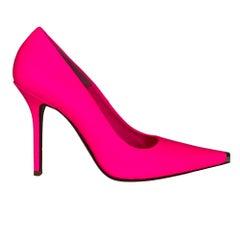 Vetements Rubberized Leather Fluorescent Pink Décolleté Heels (38 EU)