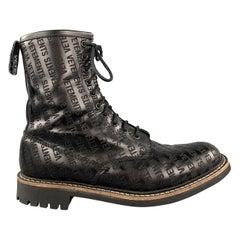 VETEMENTS Size 9 Black Logo Leather Lace Up Boots