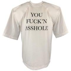 VETEMENTS Size XS White YOU FUCK'N ASSHOLE Shoulder Pad T-Shirt