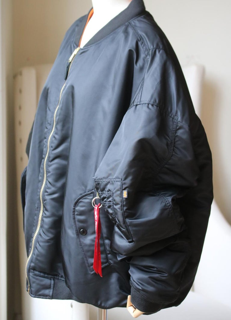 Vetements X Alpha Industries Angel Oversized Bomber Jacket In Excellent Condition For Sale In London, GB