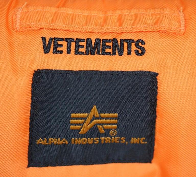 Vetements X Alpha Industries Angel Oversized Bomber Jacket For Sale 2