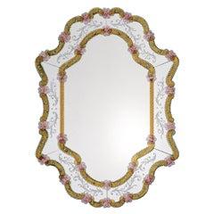 Vetrai Amber/Pink Murano Glass Mirror